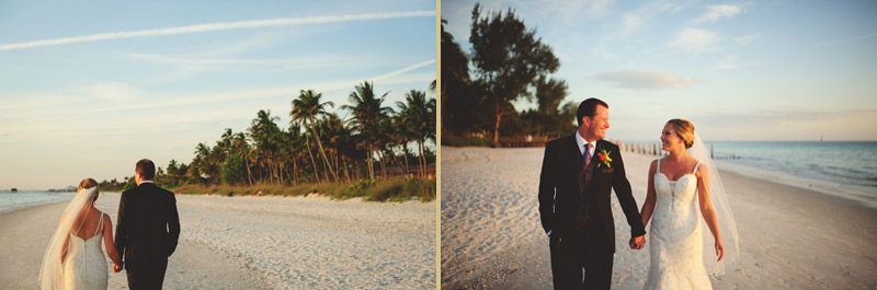 naples backyard beach wedding: bride and groom walking down beach
