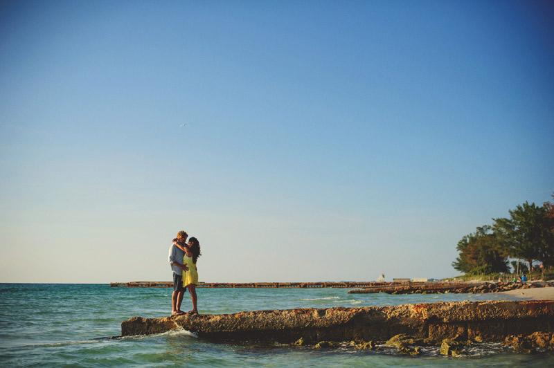 romantic driftwood beach engagement session: pier shot