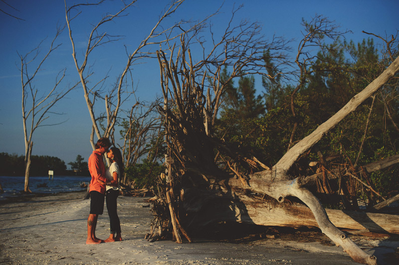 romantic driftwood beach engagement session: looking at each other