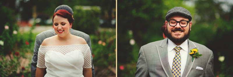 winter park farmers market wedding: first look smiling anticipation