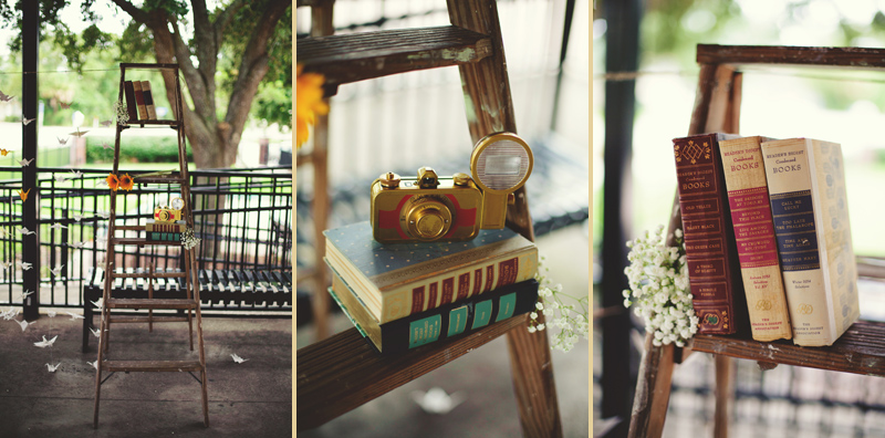 winter park farmers market wedding: DIY ladder and books ceremony