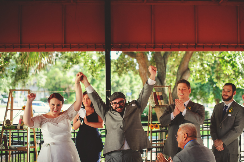 winter park farmers market wedding: excited bride and groom