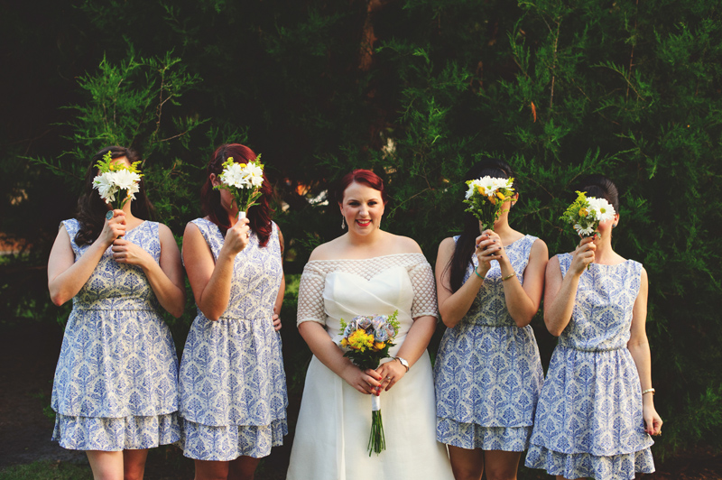 winter park farmers market wedding: bridesmaids mod cloth dresses