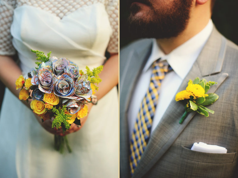winter park farmers market wedding: brides paper map flower bouquet boutonniere