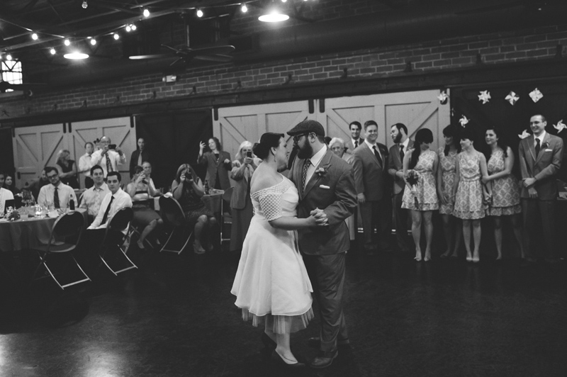 winter park farmers market wedding: bride and groom first dance