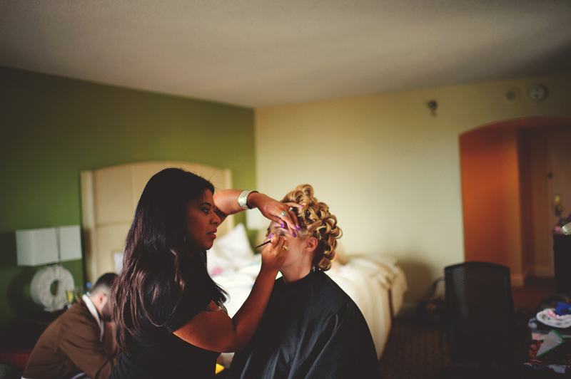 st pete elopement:  bride getting makeup done