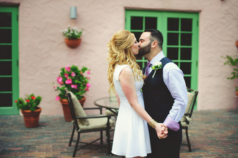 st pete elopement:  bride and groom kissing