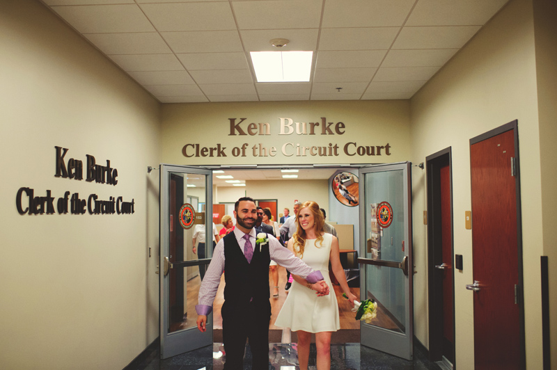 st pete elopement:  bride and groom married in courthouse