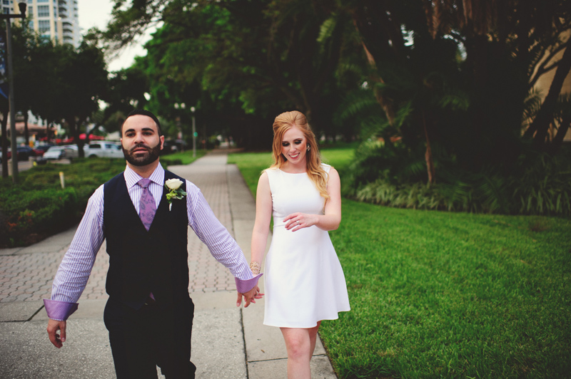 st pete elopement:  walking down beach ave