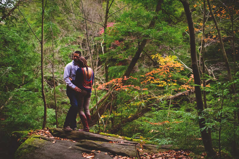 fall hiking engagement session