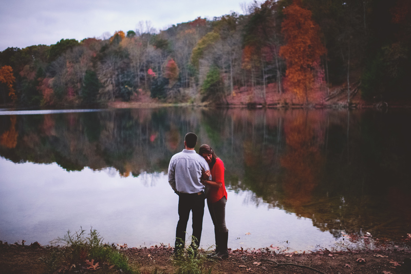 hocking hills engagement: rose lake