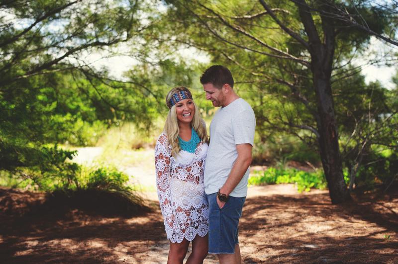 boho beach engagement photos: happy couple