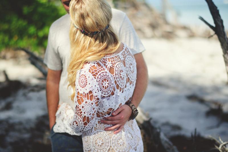 boho beach engagement photos: crochet dress
