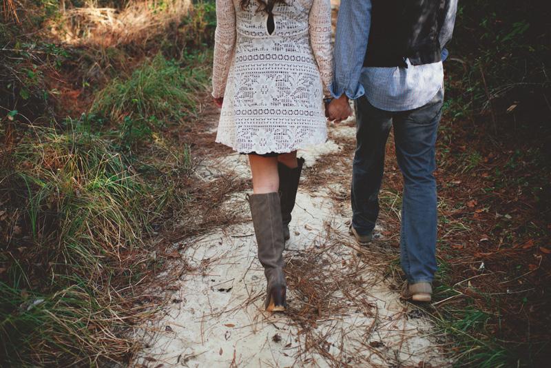 florida hiking engagement photos: walking holding hands