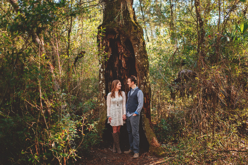 florida hiking engagement photos: by a super old tree