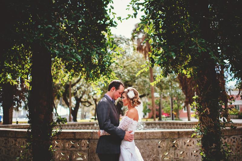 backyard wedding tampa: romantic couple