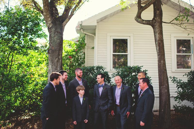 backyard wedding tampa: groom and guys