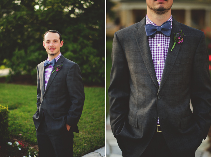 backyard wedding tampa: grooms look bowtie