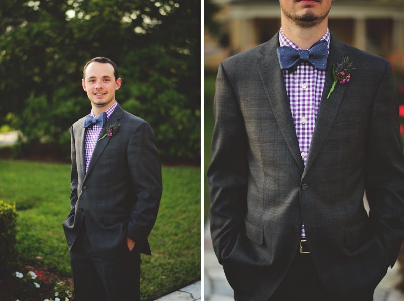 backyard wedding tampa: grooms look bowtie