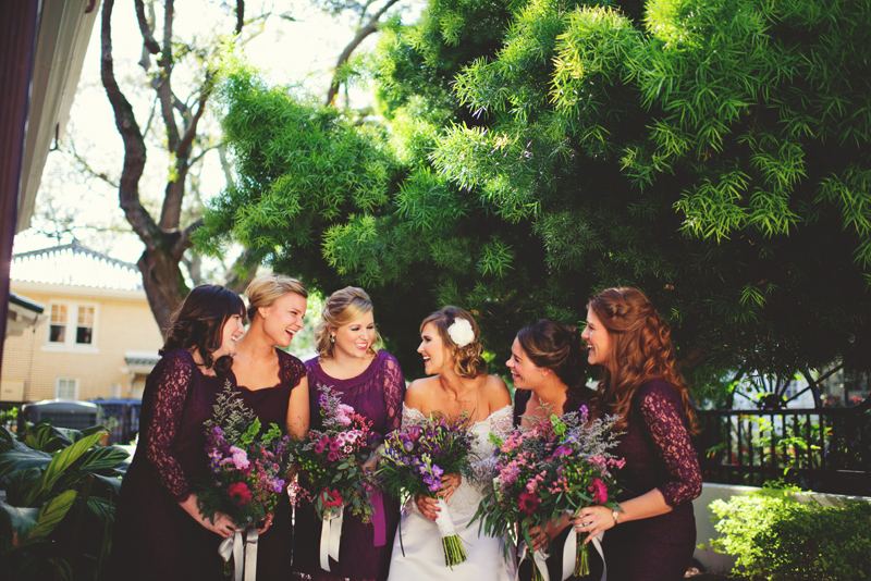 backyard wedding tampa: bride and girls