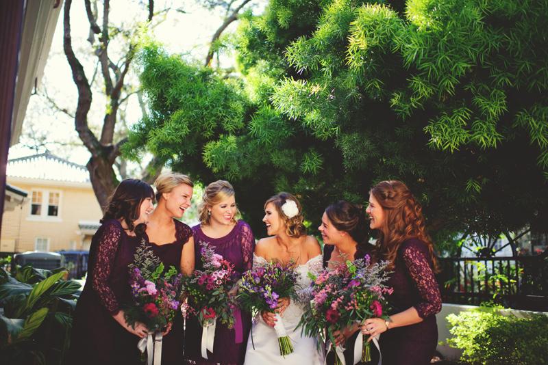 backyard wedding tampa: bride and girls