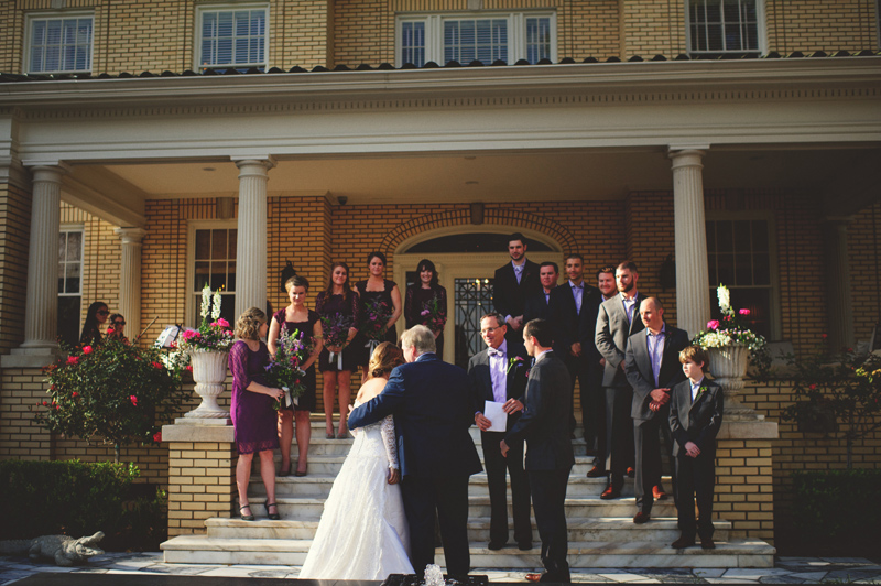 backyard wedding tampa: father kissing bride away
