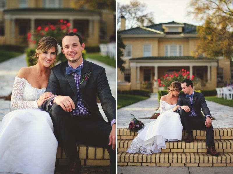 backyard wedding tampa: bride and groom sitting on steps