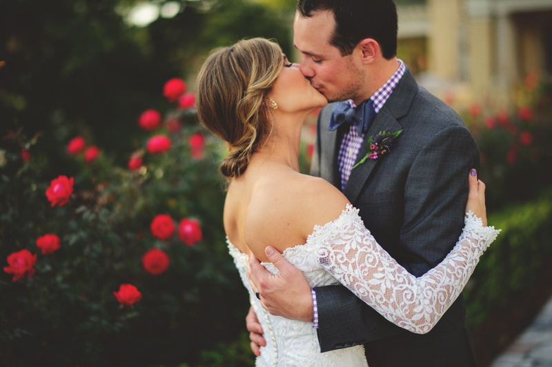 backyard wedding tampa: bride in lace dress