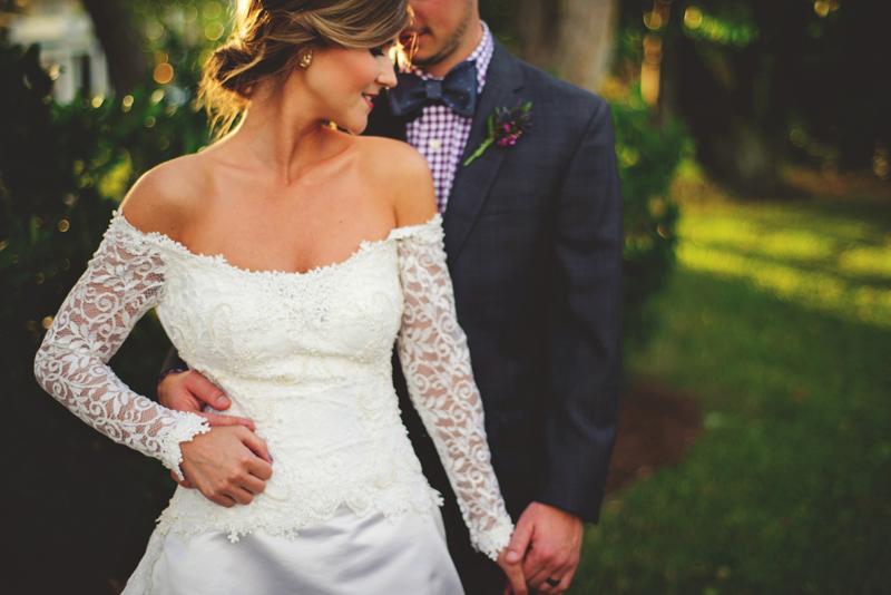 backyard tampa wedding: romantic bride and groom