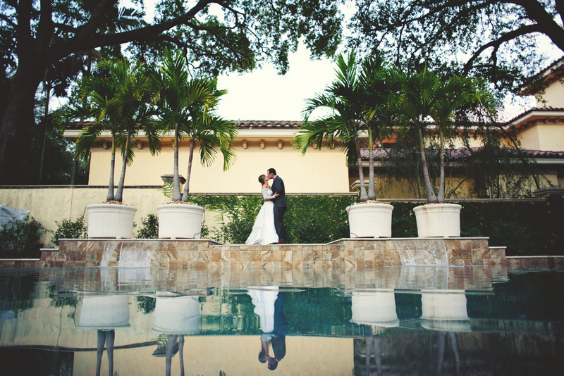 backyard tampa wedding: bride and groom reflection
