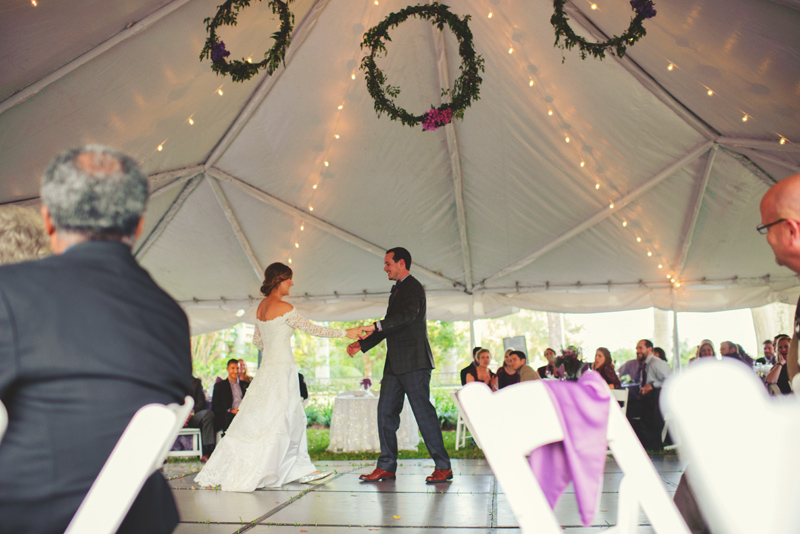 backyard tampa wedding: first dance in a tent