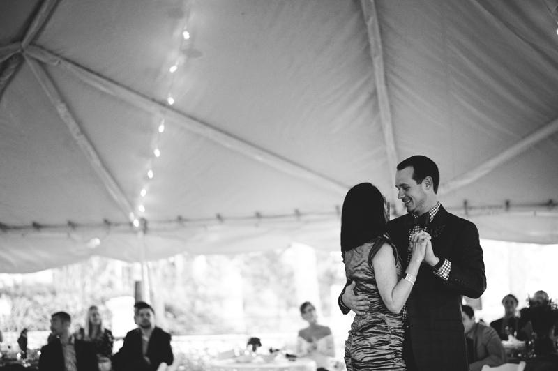 backyard tampa wedding: groom mother dance