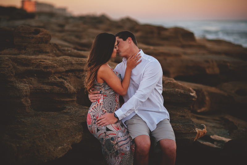 washington oaks state park engagement: sitting on the rocks