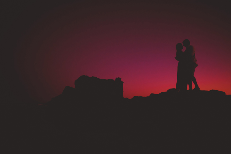 washington oaks state park engagement: sunset silhouette