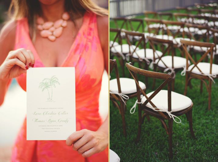 boho backyard wedding naples: program and rustic wooden chairs