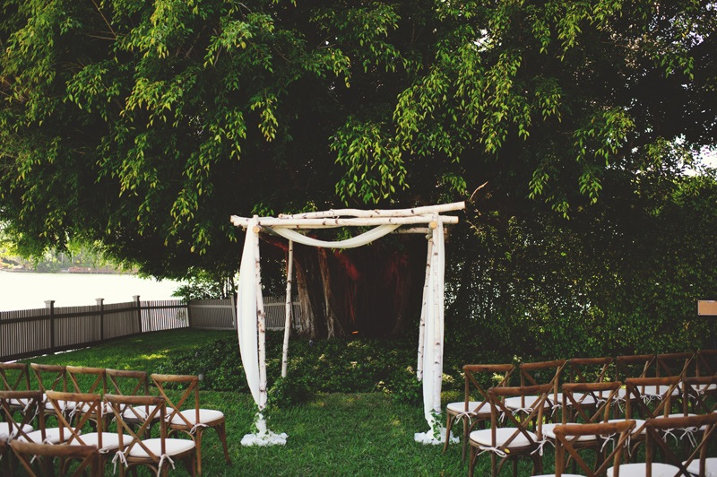 boho backyard wedding naples: ceremony setup
