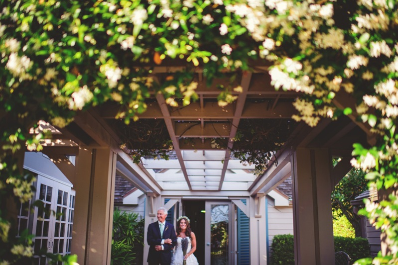 boho backyard wedding naples: father and bride before
