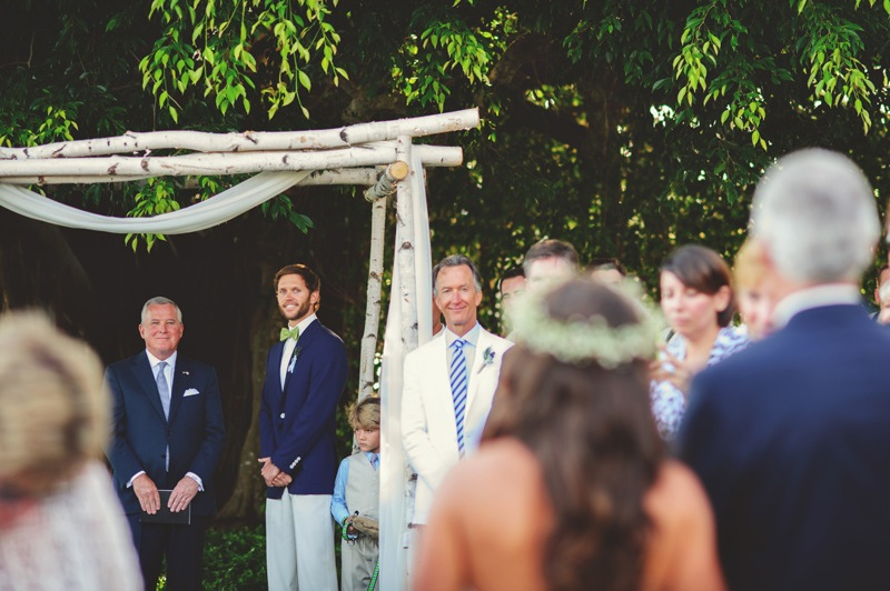 boho backyard wedding naples: grooms reaction to seeing bride for first time