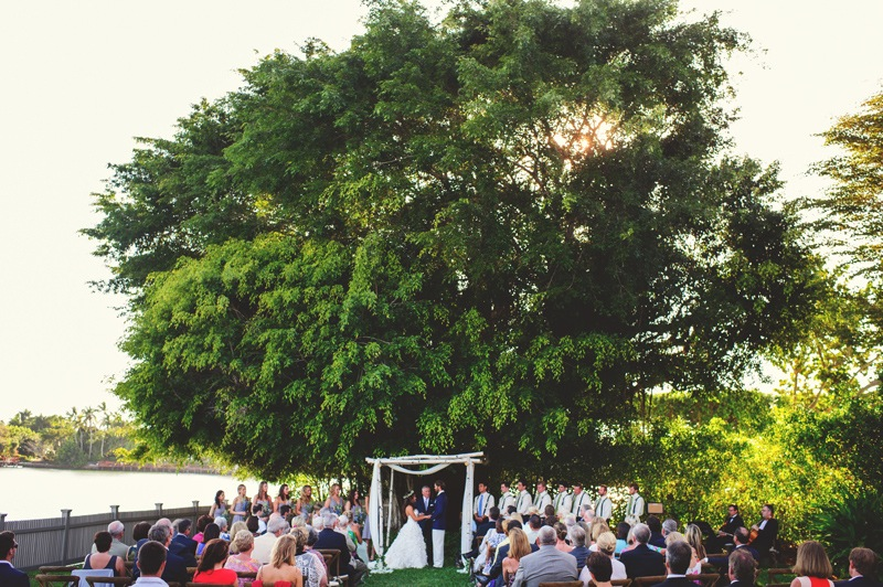 boho backyard wedding naples: wide ceremony shot