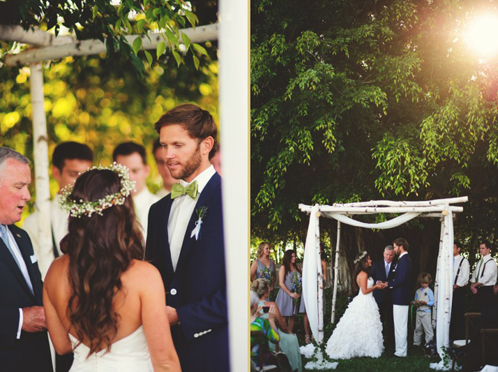 boho backyard wedding naples: ring exchange