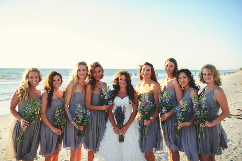 boho backyard wedding naples: bridesmaids on the beach