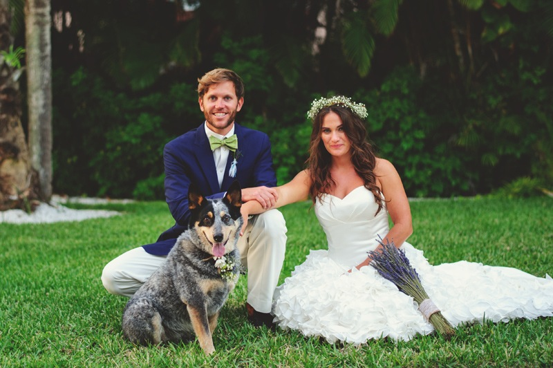 boho backyard wedding naples: bride groom and dog