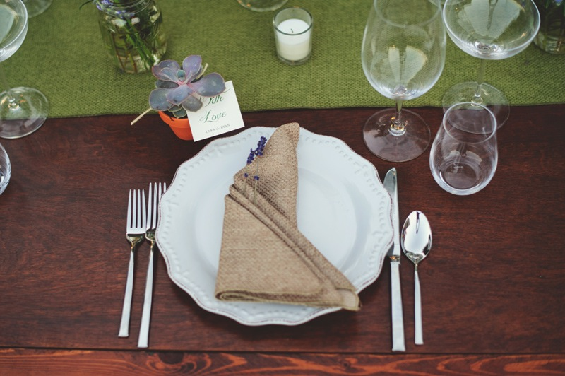 boho backyard wedding naples: place setting