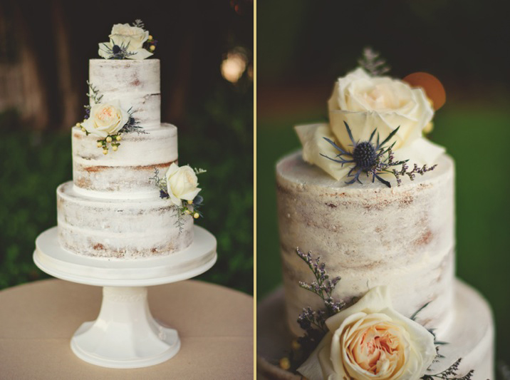 boho backyard wedding naples: rustic cake