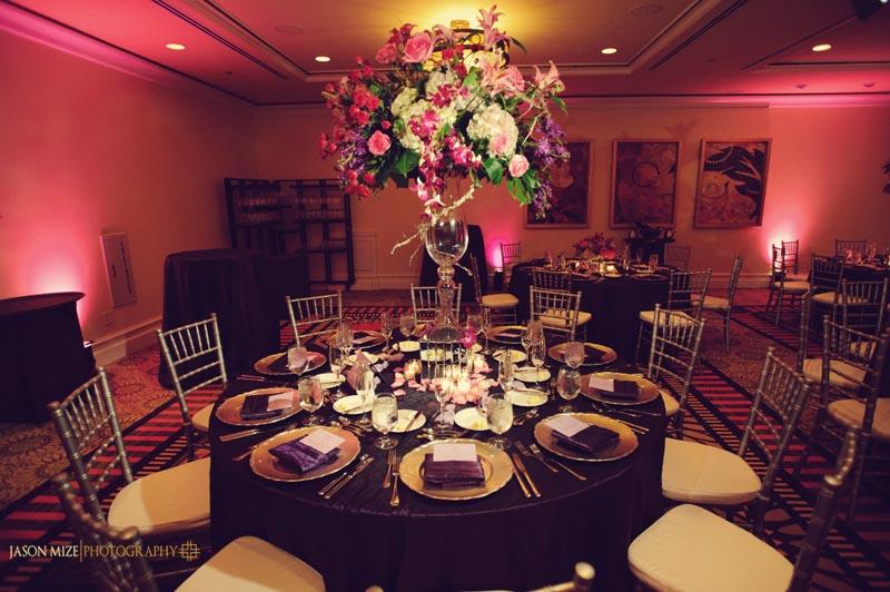 sandpearl wedding: botanic florist tall centerpiece