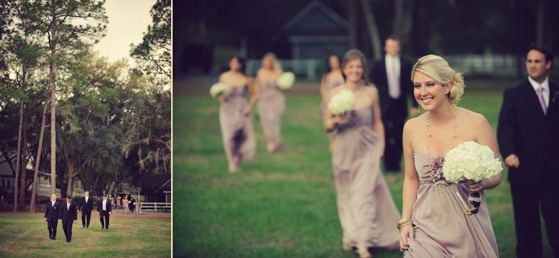 Lange Farm: bridesmaids walking