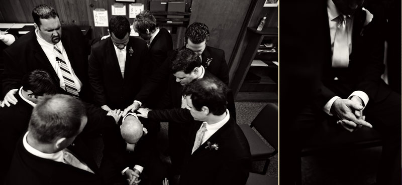 groomsmen praying