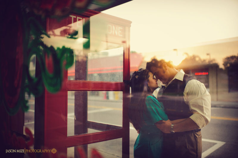 vintage engagement photo reflection