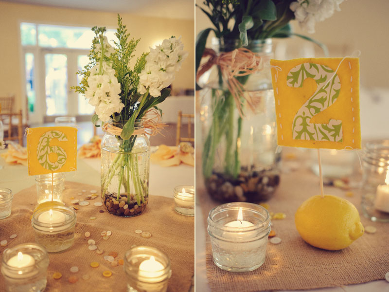 DIY table numbers yellow lemon