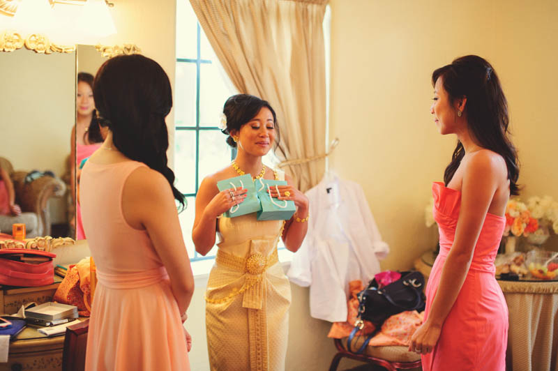 bride giving bridemaids gifts